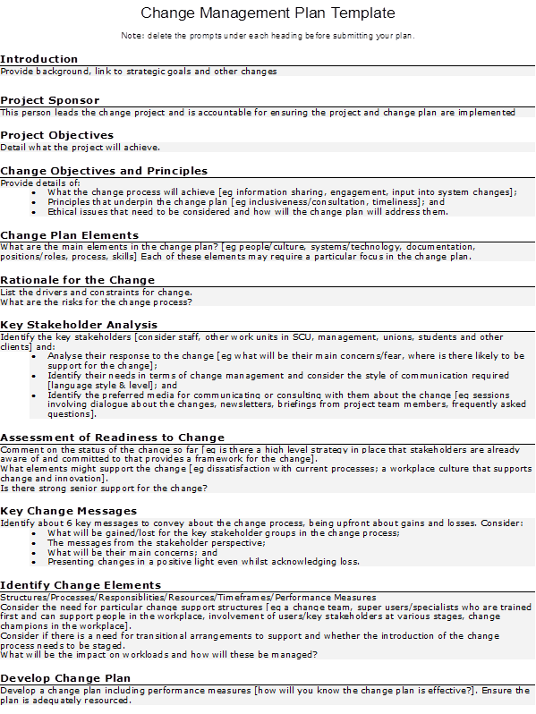 project change management plan template - Template