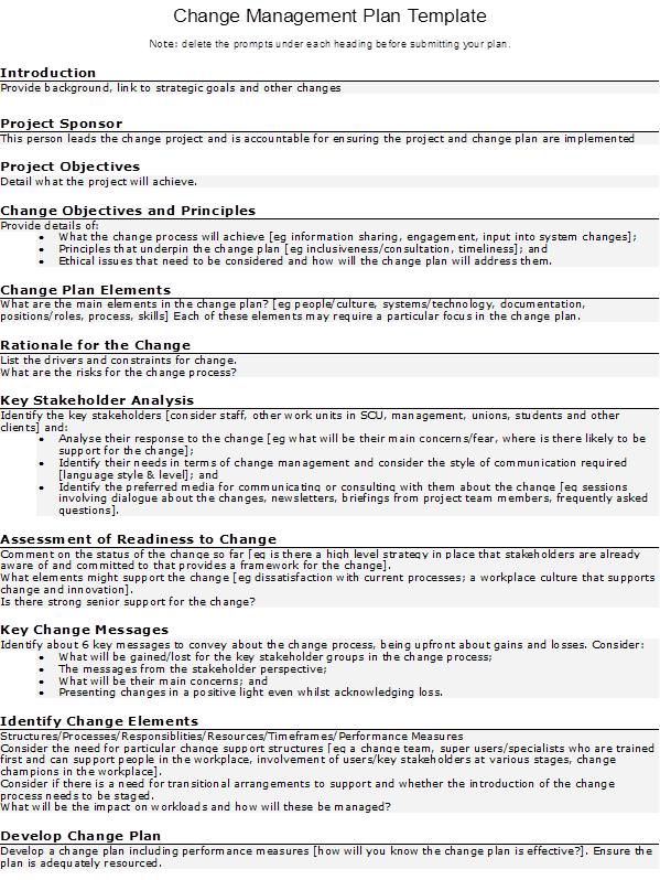 Doc500300 Change Management Plan Template Change management – Change Management Plan