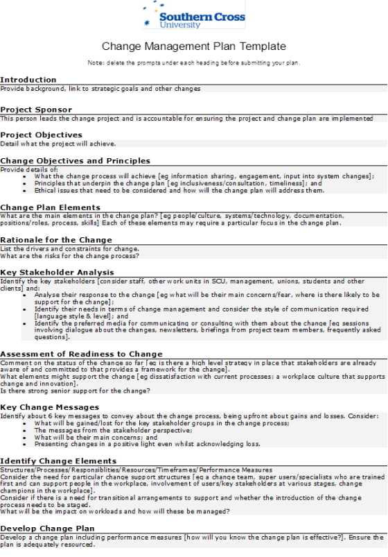 change management plan example Template – Risk Management Plan Example Template